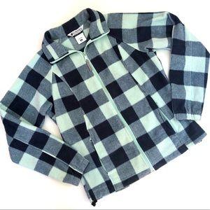 •Columbia• Plaid Fleece Zip Up Jacket Medium